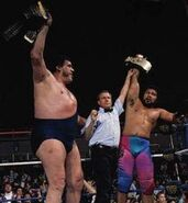 Andre the Giant and Haku World Tag Team Champion