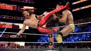 Nakamura hit Mahal with his leg