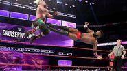 Cedric catches Enzo with a breathtaking dropkick