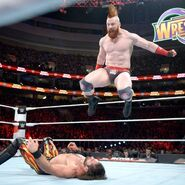 Rollins suffers the brunt of an onslaught from Sheamus