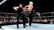 Shield Triple Powerbomb to Dolph Ziggler
