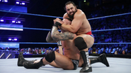 Rusev locking in Orton