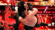 Reigns kicks to the face from Joe