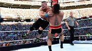 Cena shoulder tackle Rusev