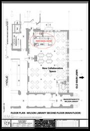 Wilson Library floor plan (bagel kiosk highlighted)