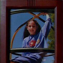 Samantha on a climbing frame
