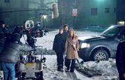 Amanda Peet, David Duchovny and Gillian Anderson filming