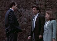Dr. Glass with Fox Mulder and Dana Scully