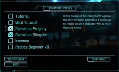 XComEW Advanced options interface