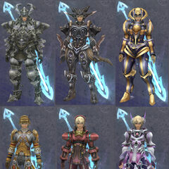 Shulk's various sets of armour