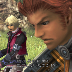 Shulk and Reyn fighting a krabble