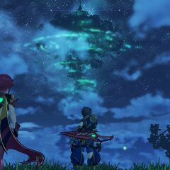 Rex and Pyra observing the World-Tree by night
