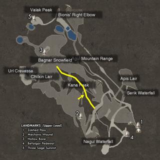 The location of Kana Peak