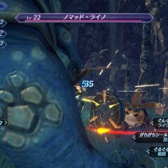Tora using a Drill Shield, Poppi α's weapon, in a battle