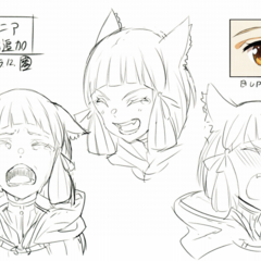 Concept art of Nia's expressions