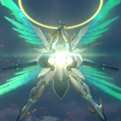 Mythra prepares to fire Siren's beam