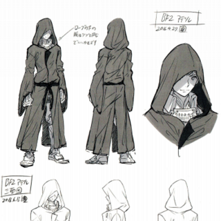 Concept art of Addam with his hood