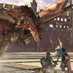Shulk, Marth and Link facing the Rathalos Assist Trophy