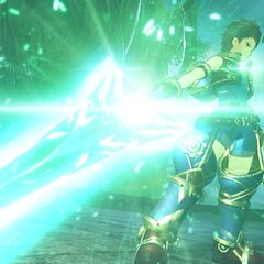 Rex wielding the third sword of the Aegis, Pneuma's sword