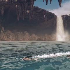 Swimming through water in the desert