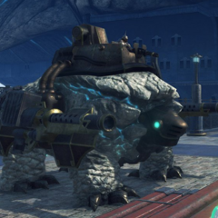An Archelon, a small weaponized Titan used by the Empire of Mor Ardain
