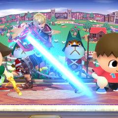 Shulk taunting alongside 2 Villagers.