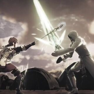 Addam and Lora fighting to each other in a practice duel, as friendly rivals