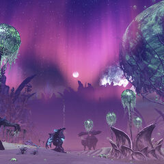 Night in Sylvalum with the pink aurora