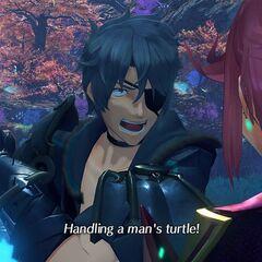 Pyra handling Zeke's turtle