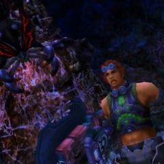 Reyn attacked by a large Arachno