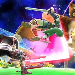 Shulk preforming Back Slash on Link and Donkey Kong.