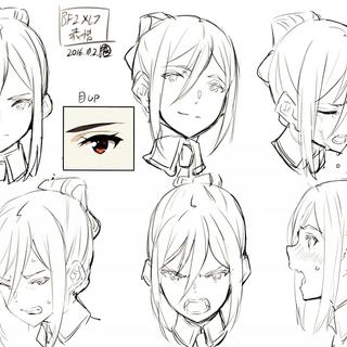 Concept art of Mòrag's expressions