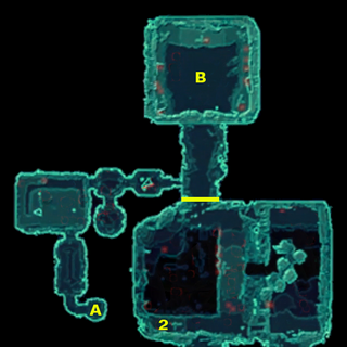 Locations of the barrier, the three keys (1, 2, 3), the three sisters (A), and the first Rexoskell battle (B)