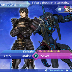 Malos and Sever as party members in the beginning of the game