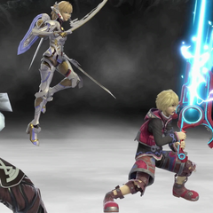 Shulk's updated Final Smash featuring Dunban, Riki and the newly added Fiora
