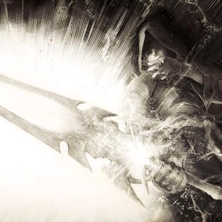 Addam holding Pneuma's sword