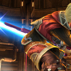 Shulk charging up a downward smash attack.