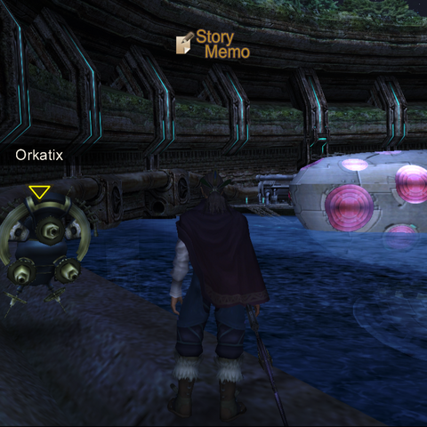 Orkatix at Machina Village. He moves around the pipe surrounding the village