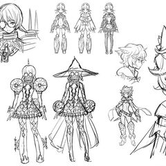 Early concept art of Pandoria, Nia and Poppi