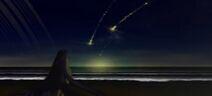 Xenogears intro planet-rings beach