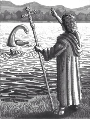Columba confronts the Loch Ness Monster