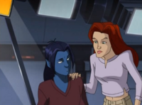 Jean tries to cheer up Nightcrawler