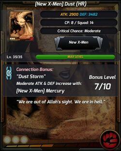 New X-Men Dust Stats