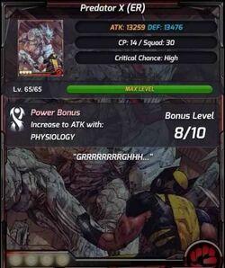 Predator X Stats