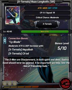 X-Ternals Raza Longknife SR Stats