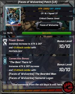 Faces of Wolverine Patch LR Stats
