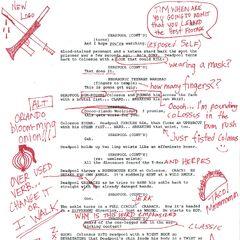 une page de scripte avec des annotation de Deadpool