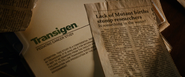 Transigen File + Mutant Birth Newspaper Clipping