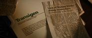 Transigen File + Mutant Birth Newspaper Clipping