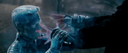 Iceman freezes Pyro's hands